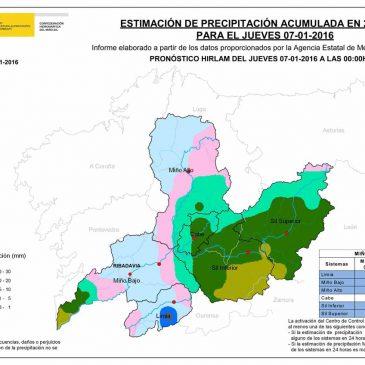 Previsión de precipitacións para cuenca 7/1/2016