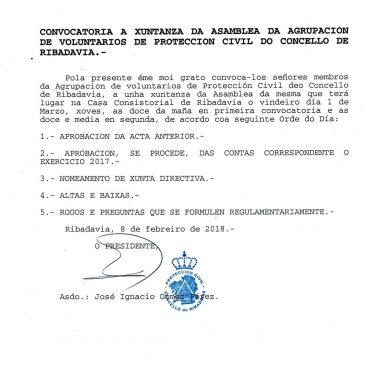 Asamblea da Agrupación de Voluntarios de Protección Civil
