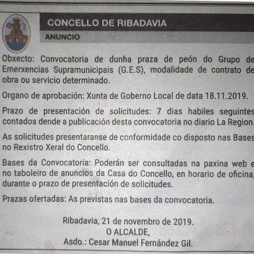BASES DE SELECCIÓN PARA A CONTRATACIÓN PARA O GRUPO MUNICIPAL DE EMERXENCIAS SUPRAMUNICIPAL (GES) DA ZONA DO RIBEIRO, CON SEDE EN RIBADAVIA